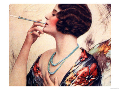 Women Cigarettes Holders Smoking, USA, 1920 Premium Poster