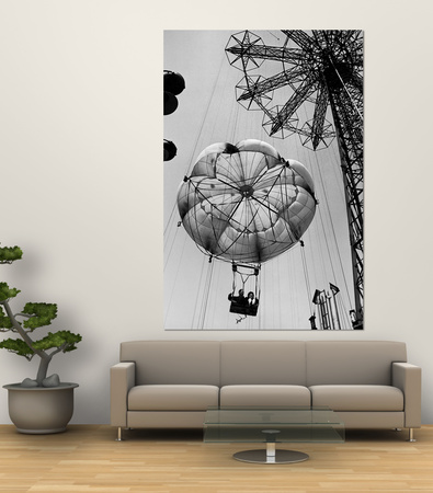 Couple Taking a Ride on the 300 Ft. Parachute Jump at Coney Island Amusement Park Premium Wall Mural by Marie Hansen