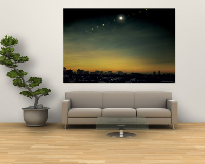 Multiple Exposure Image of All Stages of Eclipse of the Sun over Winnipeg Premium Wall Mural by Henry Groskinsky