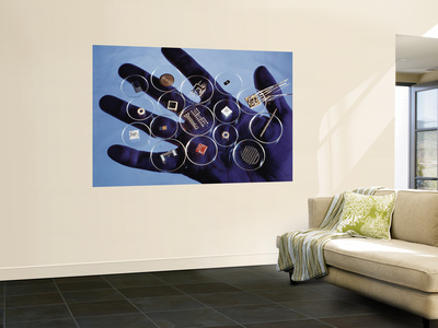 Handful of Microelectronic Parts Premium Wall Mural by Fritz Goro