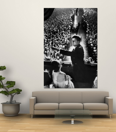 President John Kennedy Next to His Wife Jacqueline Overlooking Crowd Attending His Inaugural Ball Premium Wall Mural by Paul Schutzer