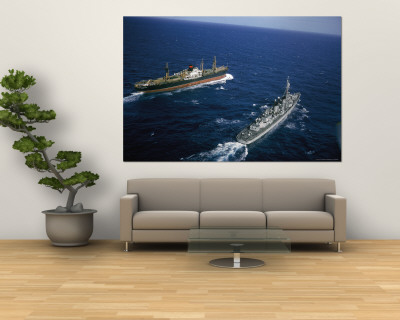 American Destroyer USS Vesole Escorting the Russian Freighter Polzunov Into International Waters Premium Wall Mural by Carl Mydans