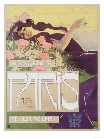 Art Nouveau Cigarettes, Los Cigarillos Women Smoking, UK, 1920 Premium Poster