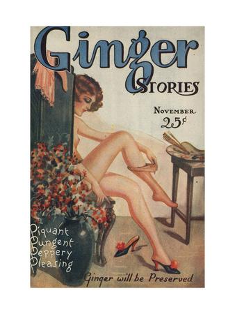 Ginger Stories, Erotica Pulp Fiction Magazine, USA, 1927 Giclée-tryk