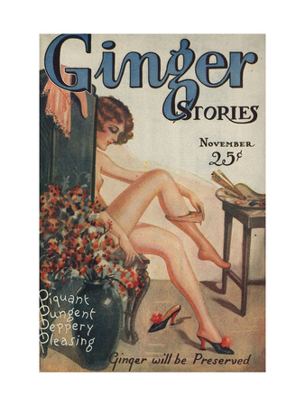 Ginger Stories, Erotica Pulp Fiction Magazine, USA, 1927 Premium Poster