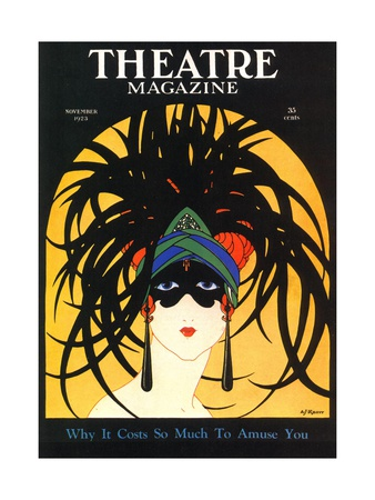 Theatre, Masks Magazine, USA, 1920 Premium Poster
