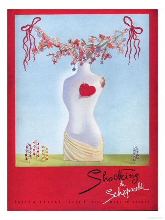 Schiaparelli Shocking, Hearts Surrealism Art, UK, 1930 Premium Poster