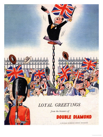Double Diamond Coronation Union Jack Flags, UK, 1953 Reproduction d'art
