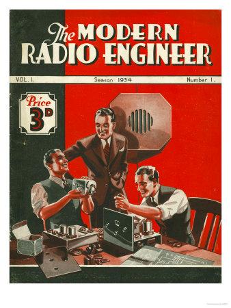 The Modern Radio Engineer, Radios First Issue Magazine, UK, 1934 Giclée-tryk