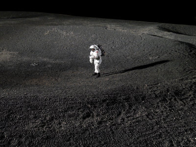 Spacesuit Engineer Simulates Work Inside a Crater in Johnson Space Center's Lunar Yard Photographic ...