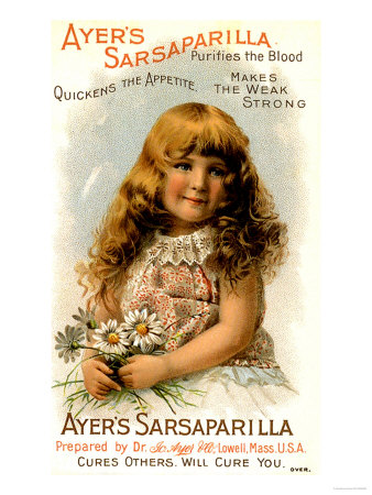 Ayer's Sarsaparilla, Ayers Tonics Water Will Cure You, Makes the Weak Strong, USA, 1890 Giclee Print