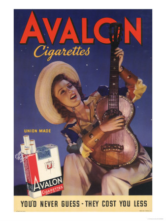 Avalon, Cigarettes Smoking, Guitars Instruments, USA, 1940 Premium Poster