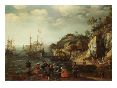 Coastal Scene with Fishermen and Huntsmen on the Shore, 1626 reproduction procédé giclée