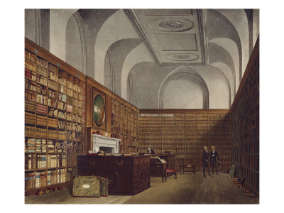 The King's Library, Buckingham House, Hand Coloured Plate from The History of Royal Palaces, 1819 Giclee Print by William Henry Pyne