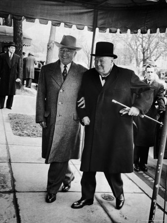 Pres. Harry Truman Walking Arm-In-Arm with British Prime Minister Winston Churchill, Blair House Photographic Print by George Skadding