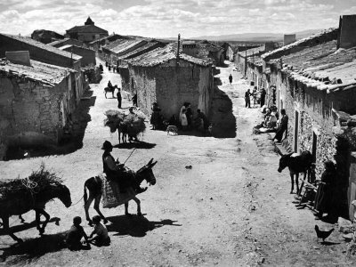Spanish Village Showing Rows of Crude Stone and Adobe Houses Photographic Print by W. Eugene Smith
