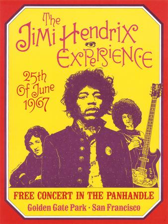 Jimi Hendrix, Free Concert in San Francisco, 1967 Posters van Dennis Loren