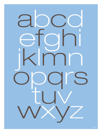 Lower Case Alphabet on Blue Lmina