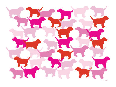Pink Puppies Prints by  Avalisa