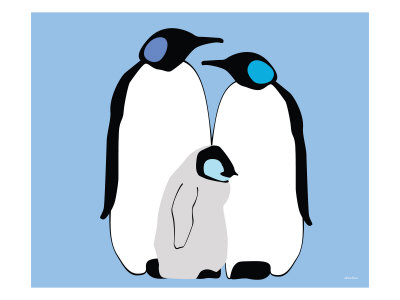 Blue Penguins Prints by  Avalisa