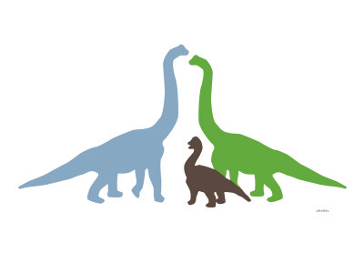 Dinosaures en couleurs et en groupe Reproduction d'art