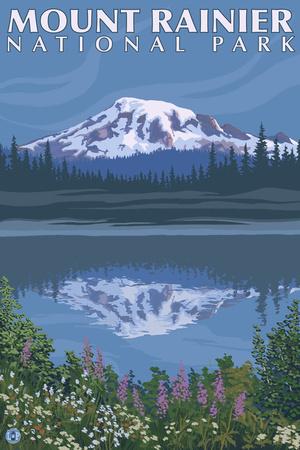 Mount Rainier, Reflection Lake Print by  Lantern Press