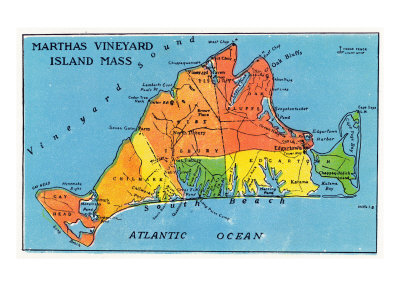 Massachusetts, Map of Entire Martha's Vineyard Island Posters by  Lantern Press