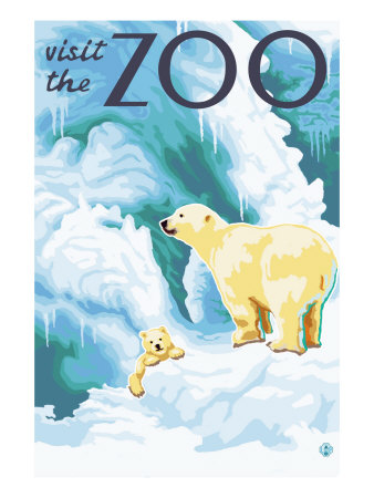 Visit the Zoo, Polar Bear and Cub Art Print
