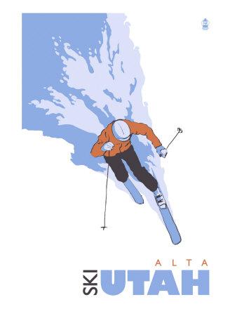 Alta, Utah, Skier Stylized Posters by  Lantern Press