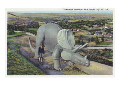 Rapid City, South Dakota, Dinosaur Park View of Triceratops Statue Prints by  Lantern Press
