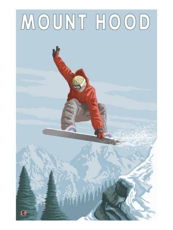 Mount Hood, Oregon, Snowboarder Jumping Poster by  Lantern Press
