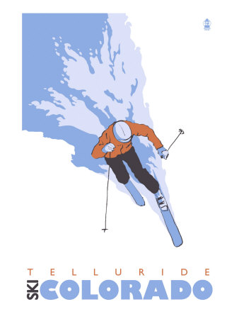 Telluride, Colorado, Stylized Skier Posters by  Lantern Press