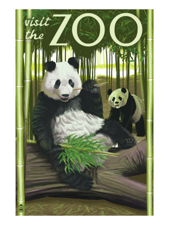 Visit the Zoo, Panda Bear Scene Art Print