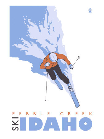 Pebble Creek, Idaho, Stylized Skier Poster by  Lantern Press