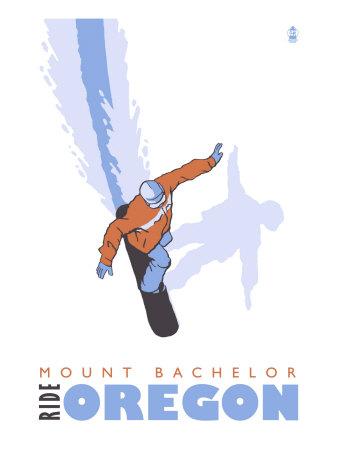 Mount Bachelor, Oregon, Stylized Snowboarder Print by  Lantern Press