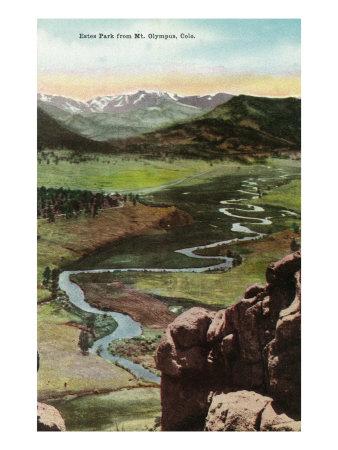Rocky Mountain National Park, Colorado, Mt. Olympus Aerial View of Estes Park Prints by  Lantern Press