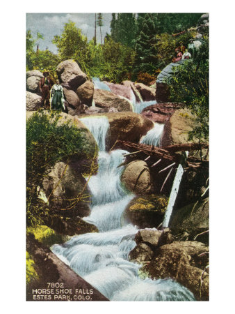 Rocky Mountain National Park, Colorado, View of Horseshoe Falls in Estes Park Art by  Lantern Press