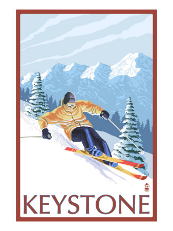 Keystone, Colorado, Downhill Skier Print by  Lantern Press