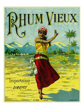 Rhum Vieux Brand Rum Label Prints by  Lantern Press
