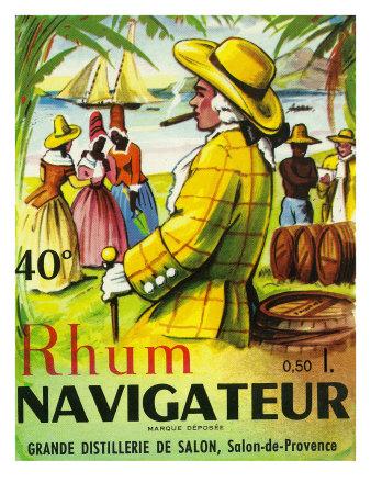 Rhum Navigateur Brand Rum Label Posters by  Lantern Press