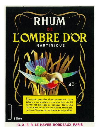 Rhum de Lombre d'Or Martinique Brand Rum Label Poster by  Lantern Press