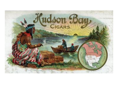 Hudson Bay Brand Cigar Inner Box Label, Native American Prints by  Lantern Press