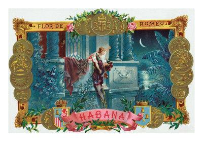 Flor de Romeo Brand Cigar Box Label, Famous Romeo and Juliet Balcony Scene Posters by  Lantern Press
