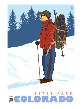 Snow Hiker, Estes Park, Colorado Posters by  Lantern Press