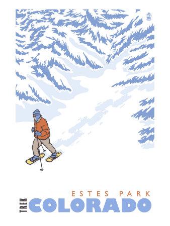 Stylized Snowshoer, Estes Park, Colorado Poster by  Lantern Press