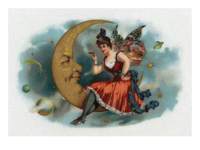 Picant Brand Cigar Box Label, Fairy Woman Smoking on the Moon Prints by  Lantern Press