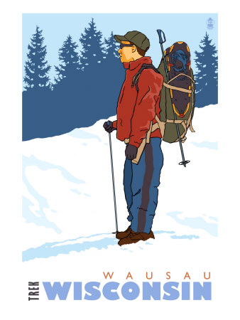 Snow Hiker, Wausau, Wisconsin Art Print