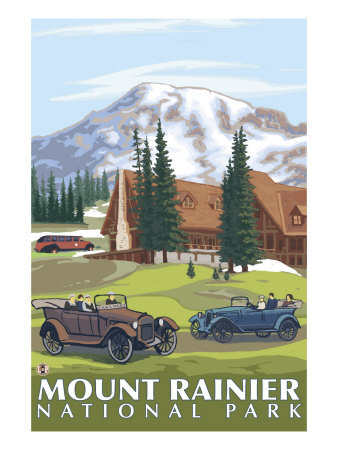 Mount Rainier, Paradise Lodge and Chalmers Posters by  Lantern Press
