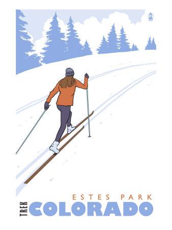 Cross Country Skier, Estes Park, Colorado Prints by  Lantern Press