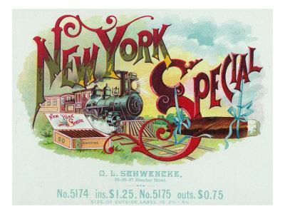 New York Special Brand Cigar Box Label Prints by  Lantern Press